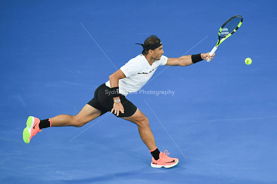 January 29, 2017: Rafael Nadal of Spain in action in the Men's Final against Roger Federer of Switzerland on day 14 of the 2017 Australian Open Grand Slam tennis tournament in Melbourne, Australia. Photo Sydney Low
