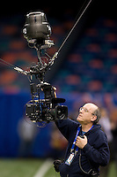 A technican works on skycam before the game during 77th Annual Allstate Sugar Bowl Classic at Louisiana Superdome in New Orleans, Louisiana on January 4th, 2011.  Ohio State defeated Arkansas, 31-26.