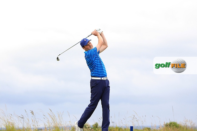 Andrew Morris (Belvoir Park) on the 11th tee during Round 1 Matchplay of the North of Ireland Amateur Open Championship at Royal Portrush, Dunluce Course on Wednesday 15th July 2015.<br /> Picture:  Golffile | Thos Caffrey
