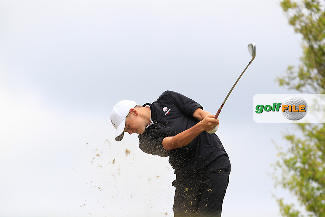 Oliver Clarke (England) on the 7th tee during Round 2 of the Irish Boys Amateur Open Championship at Tuam Golf Club on Wednesday 24th June 2015.<br /> Picture:  Thos Caffrey / www.golffile.ie