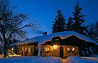Deutschland, Bayern, Oberbayern, Chiemgau, Winterlandschaft mit Almhuette und Weihnachtsbaum zur Abenddaemmerung | Germany, Upper Bavaria, Chiemgau, Winter scenery with hut and Christmas tree at dusk