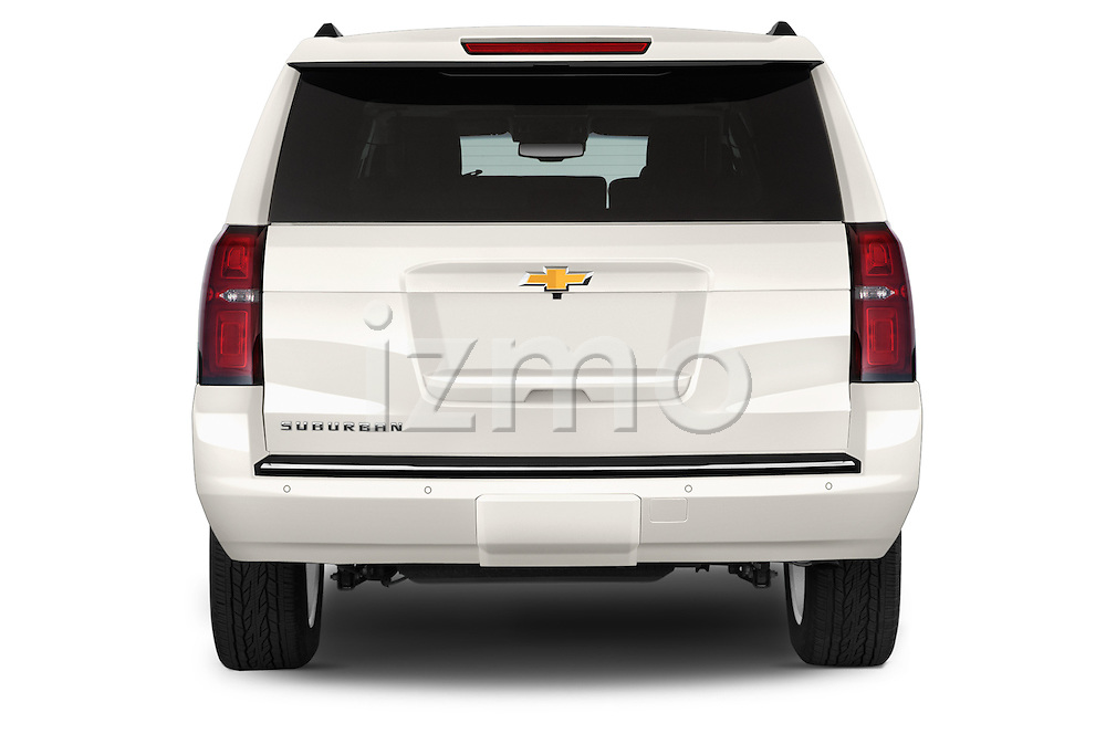 Straight rear view of a 2015 Chevrolet Suburban 4WD 1500 LTZ 5 Door Suv Rear View  stock images