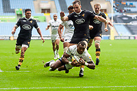 Semesa Rokoduguni of Bath Rugby dives for the try-line late in the second half. Aviva Premiership match, between Wasps and Bath Rugby on October 1, 2017 at the Ricoh Arena in Coventry, England. Photo by: Patrick Khachfe / Onside Images