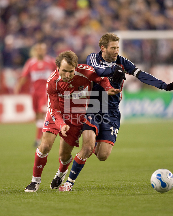 Chicago Fire midfielder (21) Justin Mapp fends off New England Revolution midfielder Steve Ralston (14). The New England Revolution defeated the Chicago Fire 1-0 in the MLS Eastern Conference Championship game at Gillette Stadium in Foxborough, MA on November 8, 2007.