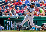 14 April 2018: Colorado Rockies outfielder Charlie Blackmon hits a 2-run homer in the first inning to open the scoring against the Washington Nationals at Nationals Park in Washington, DC. The Nationals rallied to defeat the Rockies 6-2 in the 3rd game of their 4-game series. Mandatory Credit: Ed Wolfstein Photo *** RAW (NEF) Image File Available ***
