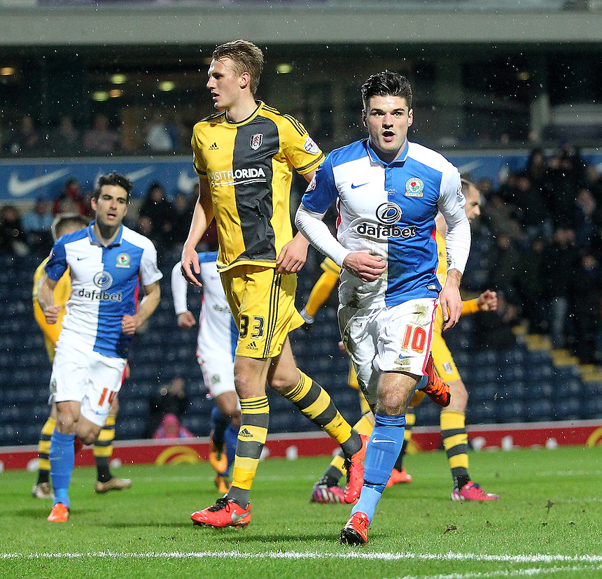 Blackburn Rovers Ben Marshall celebrates scoring his sides first goal <br />