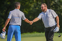 Shane Lowry (IRL) shakes hands following 2nd round of the 100th PGA Championship at Bellerive Country Club, St. Louis, Missouri. 8/11/2018.<br /> Picture: Golffile | Ken Murray<br /> <br /> All photo usage must carry mandatory copyright credit (© Golffile | Ken Murray)