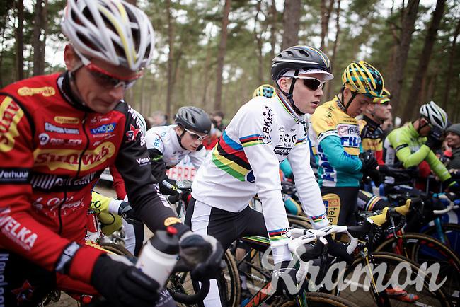 2015 CX World Champion Mathieu Van der Poel's (NLD/BKCP-Powerplus) first appearance in his elite rainbow jersey<br /> <br /> Elite Men's Race<br /> Krawatencross<br /> bpost bank trofee