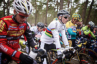 2015 CX World Champion Mathieu Van der Poel's (NLD/BKCP-Powerplus) first appearance in his elite rainbow jersey<br /> <br /> Elite Men's Race<br /> Krawatencross<br /> bpost bank trofee