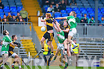 Johnny Buckley and Daithi Casey Dr Crokes contest the kick out with  Legion's Jonathon Lyne and Billy McGuire during the O'Donoghue cup final in Fitzgerald Stadium on Sunday