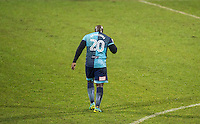 Adebayo Akinfenwa of Wycombe Wanderers leaves the pitch after being sent off during the Sky Bet League 2 match between Notts County and Wycombe Wanderers at Meadow Lane, Nottingham, England on 10 December 2016. Photo by Andy Rowland.
