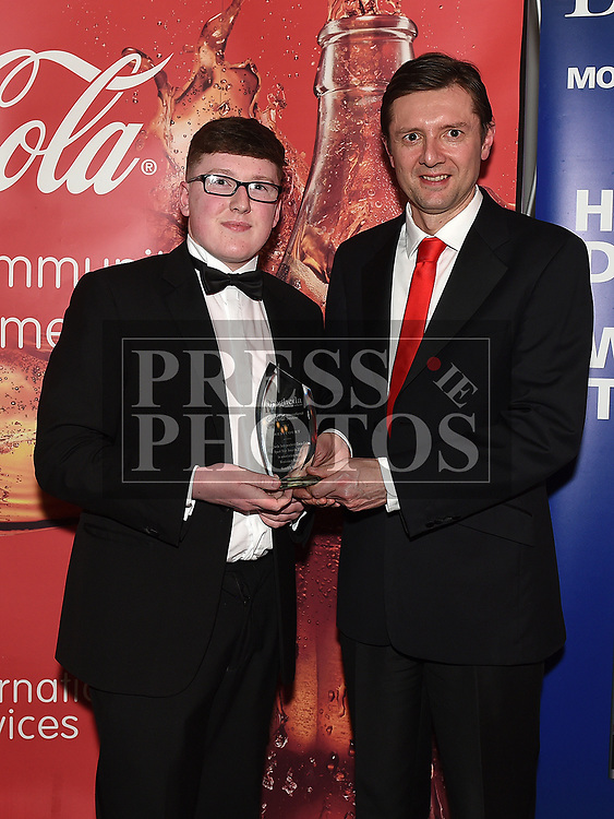 Marcus Cavaroli presents the December award to Keane Barry at the Drogheda Independent Sports Star Awards in the Westcourt Hotel.  Photo:Colin Bell/pressphotos.ie