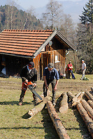 Aufbau eines Funken (Funkenfeuer) bei Ofterschwang im Allgäu, Bayern, Deutschland<br /> Preparing of a Funken (Fire) near Ofterschwang, Allgäu, Bavaria, Germany