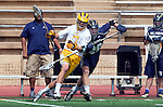 San Diego, CA 05/25/13 - Eric Goicoechea (Parker #7) and Kyle Joyce (Del Norte #26) in action during the CIF San Diego Section Boys Division 2 Lacrosse Championship game.  Parker defeated Del Norte 12-4 for the 2013 title.
