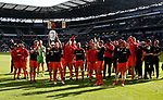Billy Sharp of Sheffield Utd lifts an inflatable trophy during the English League One match at  Stadium MK, Milton Keynes. Picture date: April 22nd 2017. Pic credit should read: Simon Bellis/Sportimage
