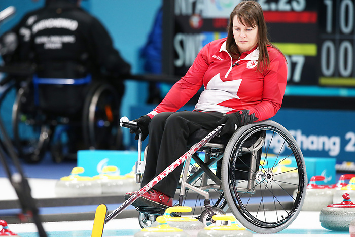 Pyeongchang, Korea, 15/3/2018-Ina Forrest compete in the  wheelchair curling during the 2018 Paralympic Games in PyeongChang.  Photo Scott Grant/Canadian Paralympic Committee.