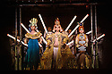 "EMBARGOED UNTIL FRIDAY 4th MARCH 2016, 7:30pm:  London, UK. 02.03.2016. English National Opera presents ""Akhnaten"", composed by Philip Glass, and directed by Phelim McDermott. Picture shows: Emma Carrington (Nefertiti), Anthony Roth (Akhnaten), Rebecca Bottone (Queen Tye). Photograph © Jane Hobson."