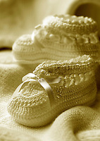 Sepia tone baby booties