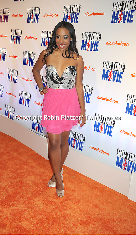 "actress Tanya Chisholm of "" Big Time Rush"" attends The movie premiere of "" Big Time Movie"" starring ..Big Time Rush of Nickelodeon on March 8, 2012 at 583 Park Avenue in New York City."