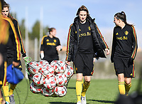 20190228 - LARNACA , CYPRUS : Belgian Heleen Jaques (middle pictured during a Matchday -1 training from The Belgian Red Flames prior to their game against the women team of Austria , on Thursday 28 February 2019 at the Alpha Sports Grounds in Larnaca , Cyprus . This will be the second game in group C for Belgium during the Cyprus Womens Cup 2019 , a prestigious women soccer tournament as a preparation on the European Championship 2021 qualification duels. PHOTO SPORTPIX.BE | DAVID CATRY