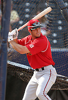 Portland Beavers third baseman Justin Leone during batting practice before the Triple-A All-Star Game at Fifth Third Field on July 10, 2006 in Toledo, Ohio.  (Mike Janes/Four Seam Images)