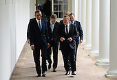 United States President Barack Obama (L) smiles as he talks with Denmark Prime Minister Lars Lokke Rasmussen as they and other Nordic leaders walk along the White House Colonnade to the Oval Office during the State Visit in Washington, D.C. on May 13, 2016.  Other Nordic leaders are second row Finland President Sauli Niinisto and Sweden Prime Minister Stefan Lofven (R), third row Iceland Prime Minister Sigurdur Ingi Johannsson and Norway Prime Minister Erna Solberg (R).     <br /> Credit: Pat Benic / Pool via CNP