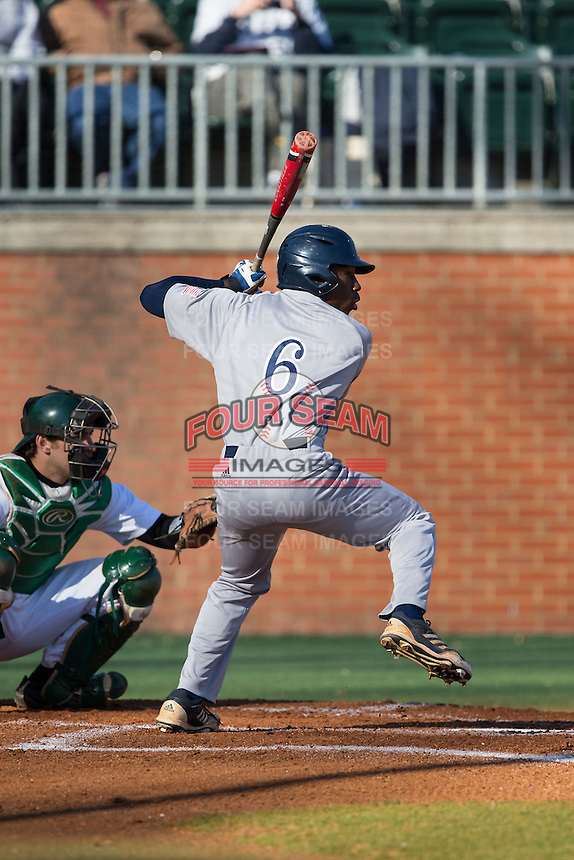 Ryan Chandler (6) of the Rice Owls at bat against the Charlotte 49ers at Hayes Stadium on March 6, 2015 in Charlotte, North Carolina.  The Owls defeated the 49ers 4-2.  (Brian Westerholt/Four Seam Images)
