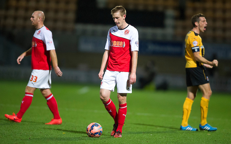Fleetwood Town's Jeff Hughes shows his disappointment at the final whistle as his team lose 1-0<br /> <br /> Photographer Stephen White/CameraSport<br /> <br /> Football - FA Challenge Cup First Round - Cambridge United v Fleetwood Town - Saturday 8th November 2014 - R Costings Abbey Stadium - Cambridge<br /> <br />  &copy; CameraSport - 43 Linden Ave. Countesthorpe. Leicester. England. LE8 5PG - Tel: +44 (0) 116 277 4147 - admin@camerasport.com - www.camerasport.com