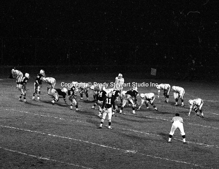 Bethel Park PA:  Offensive play with the Bethel Park offense setting up for another successful play,  Others in the  photo; Bruce Evanovich 80, Chip Huggins 32, Clark Miller 30, Dan Hannigan 64, Dennis Franks 66, Don Troup 51, Joe Barrett 75, John Bender 27, Gary Biro 81, Mike Stewart 11.  The Bethel Park offense and defense played very well in the 16-0 shut out of the Upper St Clair Panthers.    The defensive unit was one of the best in Bethel Park history only allowing a little over 7 points a game.