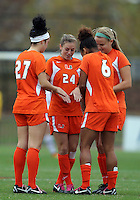 COLLEGE PARK, MD - OCTOBER 28, 2012:  Ally Andreini (27), Tara Schwitter (24),Jordan Roseboro (6) and Erin McGovern (13) of Miami during an ACC  women's tournament 1st. round match at Ludwig Field against Maryland in College Park, MD. on October 28. Maryland won 2-1 on a golden goal in extra time.