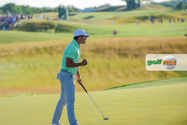 Brooks Koepka (USA) celebrates sinking the final putt to win the 117th U.S. Open, at Erin Hills, Erin, Wisconsin. 6/18/2017.<br /> Picture: Golffile | Ken Murray<br /> <br /> <br /> All photo usage must carry mandatory copyright credit (&copy; Golffile | Ken Murray)