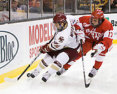 Joe Whitney (BC - 15), Matt Nieto (BU - 17) - The Boston College Eagles defeated the Boston University Terriers 3-2 (OT) in their Beanpot opener on Monday, February 7, 2011, at TD Garden in Boston, Massachusetts.