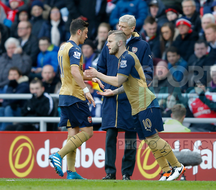 Jack Wilshere of Arsenal rep[laces Mesut Ozil of Arsenal during the Barclays Premier League match at  Stadium of Light. Photo credit should read: Simon Bellis/Sportimage