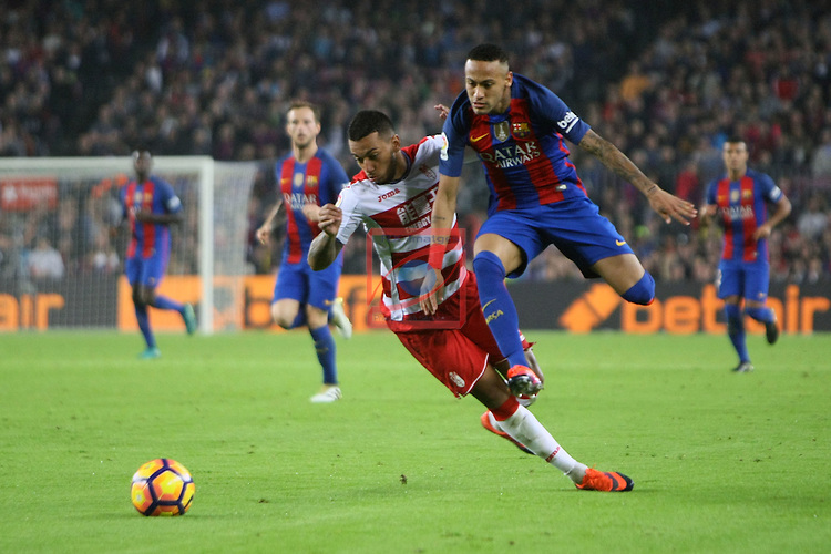League Santander 2016/2017. Game: 10.<br /> FC Barcelona vs Granada CF: 1-0.<br /> Ruben Vezo vs Neymar Jr.