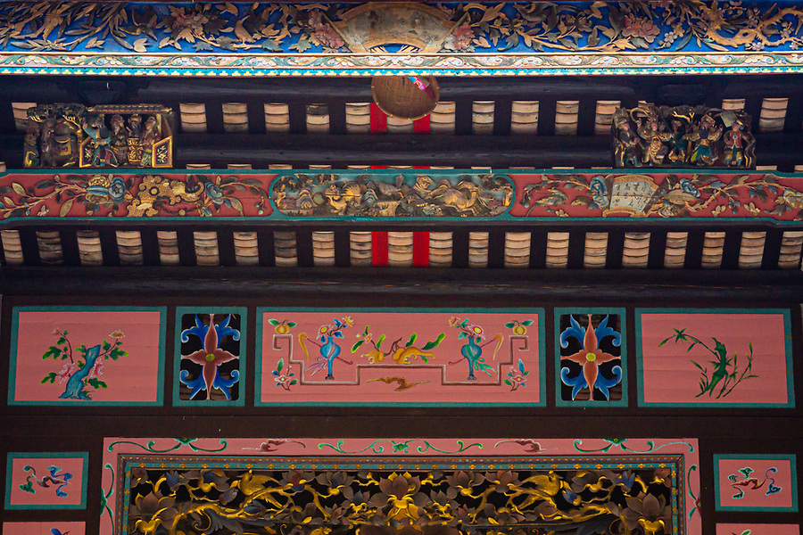 Decorative panels surrounding the altar of the Chik Kwai Study Hall.