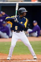 Carvell Copeland #5 of the North Carolina A&T Aggies at bat versus the High Point Panthers at War Memorial Stadium March 16, 2010, in Greensboro, North Carolina.  Photo by Brian Westerholt / Four Seam Images