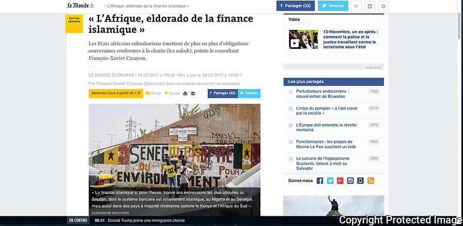 Lien vers la publication sur Le Monde.fr<br /> <br /> http://www.lemonde.fr/idees/article/2017/02/10/l-afrique-eldorado-de-la-finance-islamique_5077626_3232.html