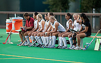 STANFORD CA - September 23, 2011:  Team at start of the Stanford vs Cal at vs Lehigh field hockey game at the Varsity Field Hockey Turf Friday night at Stanford.<br /> <br /> The Cardinal team defeated the Golden Bears 3-2.