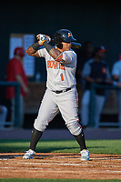 Bowie Baysox designated hitter Yermin Mercedes (1) at bat during a game against the Harrisburg Senators on May 16, 2017 at FNB Field in Harrisburg, Pennsylvania.  Bowie defeated Harrisburg 6-4.  (Mike Janes/Four Seam Images)
