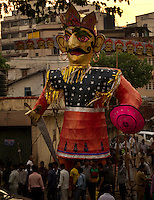 Ram Leela - the story of Lord Ram is performed as a street play during the week preceding the anniversary of his triumph over Ravan on Dassera day.  This folk performance is popular among North Indian Hindus. Seen here is the final act of the Ram Leela which ends with the burning of Ravan's effigy. Location - Khar, Mumbai. Seen here is Ravan's effigy a few hours before it is burnt.
