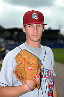 Mahoning Valley Scrappers pitcher Kenny Matthews (26) poses for a photo before a game against the Batavia Muckdogs on September 1, 2013 at Dwyer Stadium in Batavia, New York.  Mahoning Valley defeated Batavia 6-0 behind a no-hitter.  (Mike Janes/Four Seam Images)