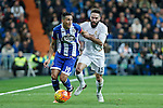 Real Madrid´s Daniel Carvajal and Deportivo de la Coruna´s Faycal during 2015/16 La Liga match between Real Madrid and Deportivo de la Coruna at Santiago Bernabeu stadium in Madrid, Spain. January 09, 2015. (ALTERPHOTOS/Victor Blanco)