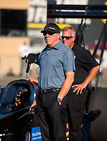 Jul 26, 2019; Sonoma, CA, USA; Alan Johnson, crew chief for NHRA top fuel driver Mike Salinas during qualifying for the Sonoma Nationals at Sonoma Raceway. Mandatory Credit: Mark J. Rebilas-USA TODAY Sports