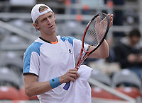 BOGOTÁ -COLOMBIA. 19-07-2013.  Kevin Anderson (RSA) celebra después de ganar el juego con Santiago Giraldo (COL)  en cuartos de final del ATP Claro Open Colombia 2013 en el Centro de Alto Rendimiento en la ciudad de Bogotá./ Kevin Anderson (RSA) celebrates after winning the match against Santiago Giraldo (COL) in final-quaters of the ATP Claro Open Colombia 2013 at Centro Alto Rendimiento in Bogota city. Photo: VizzorImage / Str