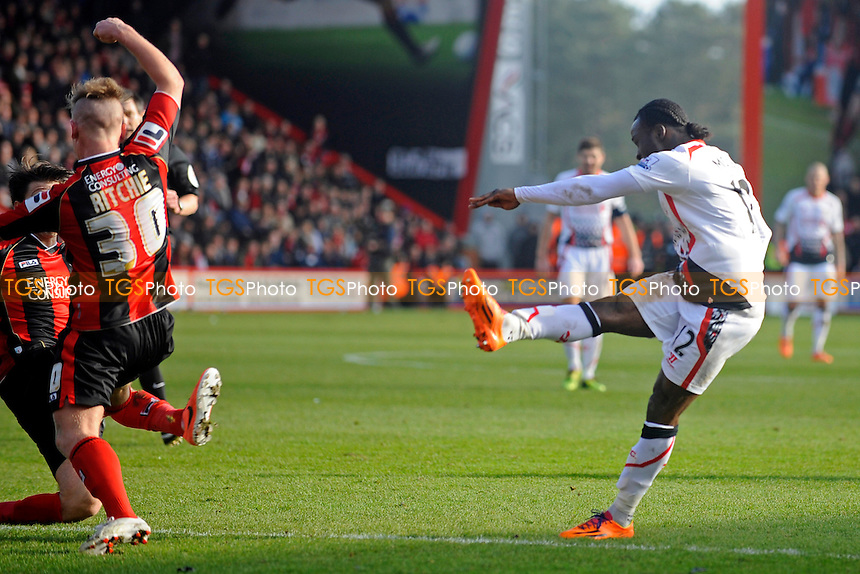 Victor Moses of Liverpool fires home for the first goal - AFC Bournemouth vs Liverpool - FA Cup 4th Round Football at the Goldsands Stadium, Bournemouth, Dorset - 25/01/14 - MANDATORY CREDIT: Denis Murphy/TGSPHOTO - Self billing applies where appropriate - 0845 094 6026 - contact@tgsphoto.co.uk - NO UNPAID USE