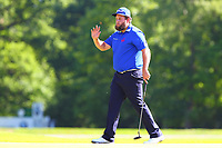 Andrew Beefy Johnston celebrates his putt on the 5th green during the BMW PGA Golf Championship at Wentworth Golf Course, Wentworth Drive, Virginia Water, England on 26 May 2017. Photo by Steve McCarthy/PRiME Media Images.