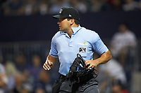 Home plate umpire Charlie Ramos during the International League game between the Scranton/Wilkes-Barre RailRiders and the Gwinnett Stripers at Coolray Field on August 16, 2019 in Lawrenceville, Georgia. The Stripers defeated the RailRiders 5-2. (Brian Westerholt/Four Seam Images)