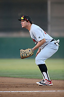 Andrew Byler (20) of the Visalia Rawhide in the field at first base during a game against the Lancaster JetHawks at The Hanger on August 9, 2017 in Lancaster, California. Lancaster defeated Visalia, 7-4. (Larry Goren/Four Seam Images)