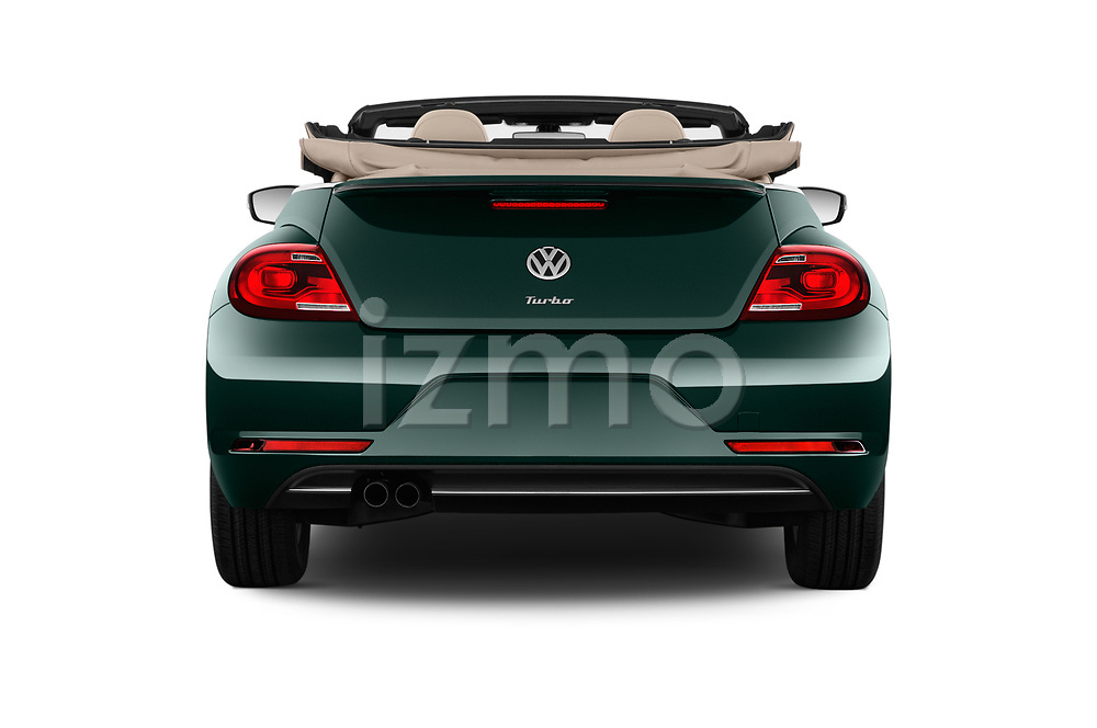 Straight rear view of 2017 Volkswagen Beetle S 2 Door Convertible Rear View  stock images
