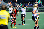 The Hague, Netherlands, June 13: Julia Mueller #28 of Germany celebrates after scoring (3-2) during the second half during the field hockey placement match (Women - Place 7th/8th) between Korea and Germany on June 13, 2014 during the World Cup 2014 at Kyocera Stadium in The Hague, Netherlands. Final score 4-2 (2-0)  (Photo by Dirk Markgraf / www.265-images.com) *** Local caption ***